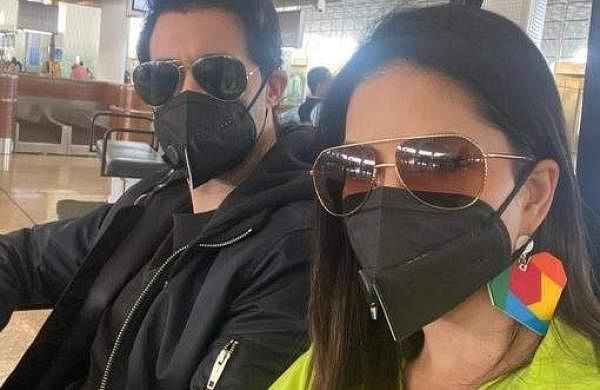 Sunny Leone in a face mask