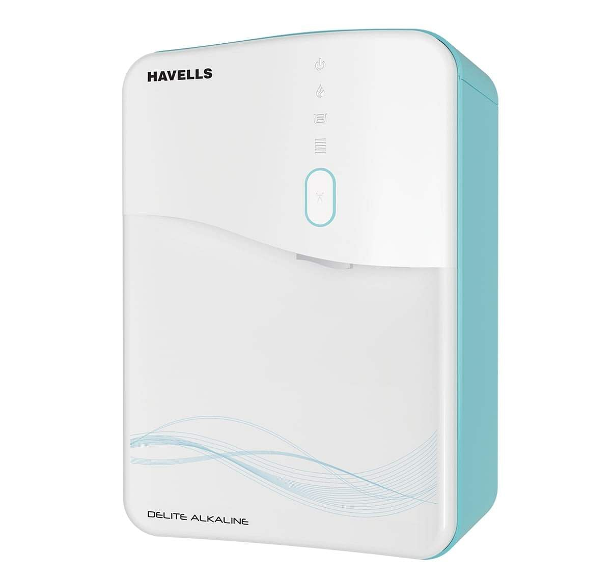 Havells Delite Water Purifier: Provides 100% RO & UV purified alkaline water. Stainless steel tank, push button to dispense water. Eight stages of purification. INR 24,499.
