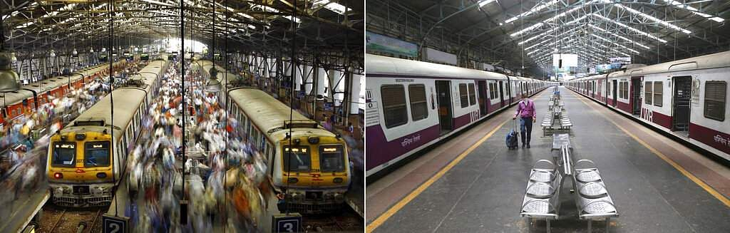 This combination photo of two images shows a normal day at Church Gate railway station in Mumbai, and the same station seen deserted following the nationwide lockdown. (AP Photo/Rafiq Maqbool)