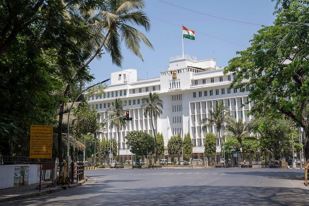 Mumbai: The Mantralaya building bears a deserted look during the complete nationwide lockdown to contain the spread of the coronavirus. (Photo: IANS)