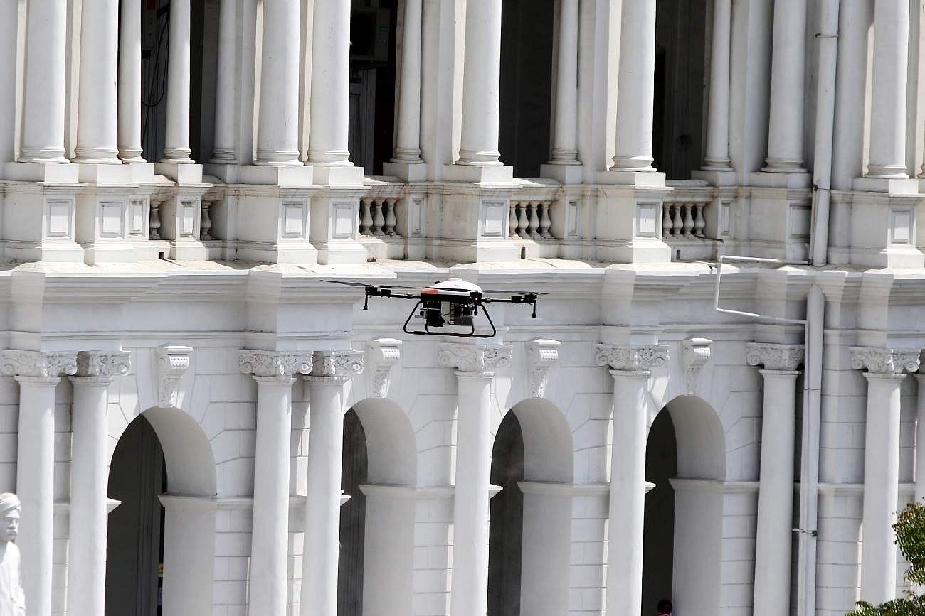 Drones being used to spray disinfectants across Chennai on Day 2 of the 21-day nationwide lockdown imposed by the Narendra Modi government to contain the coronavirus pandemic. (Photo: IANS)