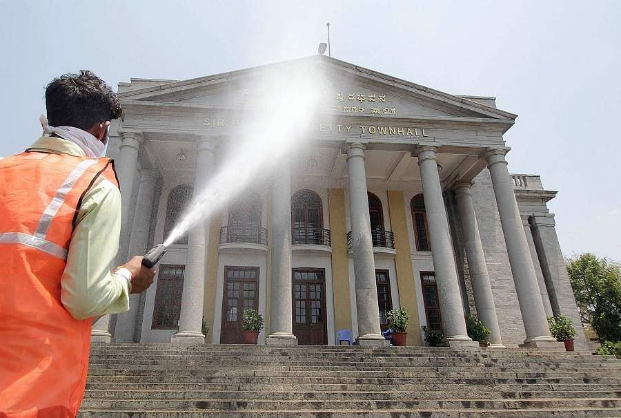 Bengaluru: Disinfectants are being sprayed across the city during the complete nationwide lockdown to contain the spread of the coronavirus. (Photo: IANS)