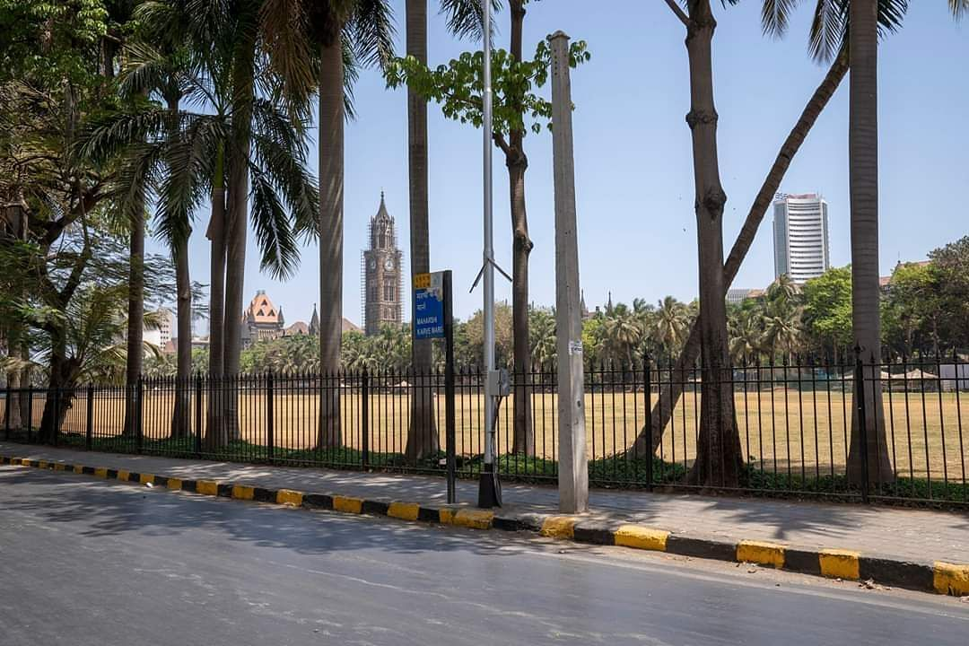 Mumbai: The Oval Maidan bears a deserted look during the complete nationwide lockdown to contain the spread of the coronavirus. (Photo: IANS)