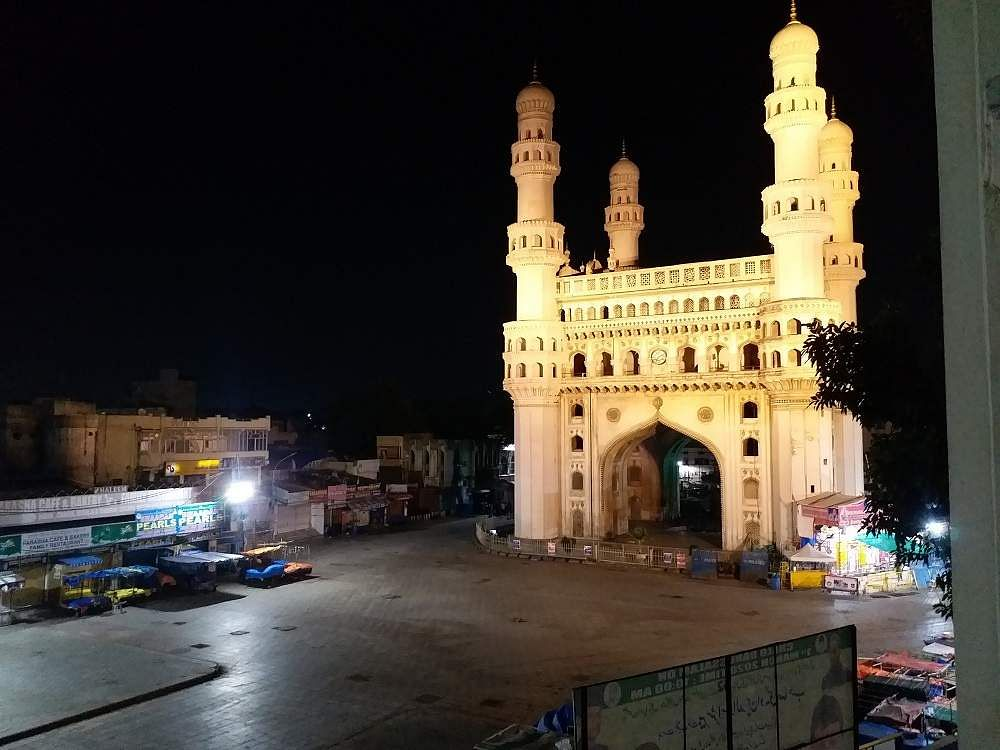 Hyderabad: Night view of a deserted city during the complete nationwide lockdown imposed to contain the coronavirus pandemic. (Photo: IANS)