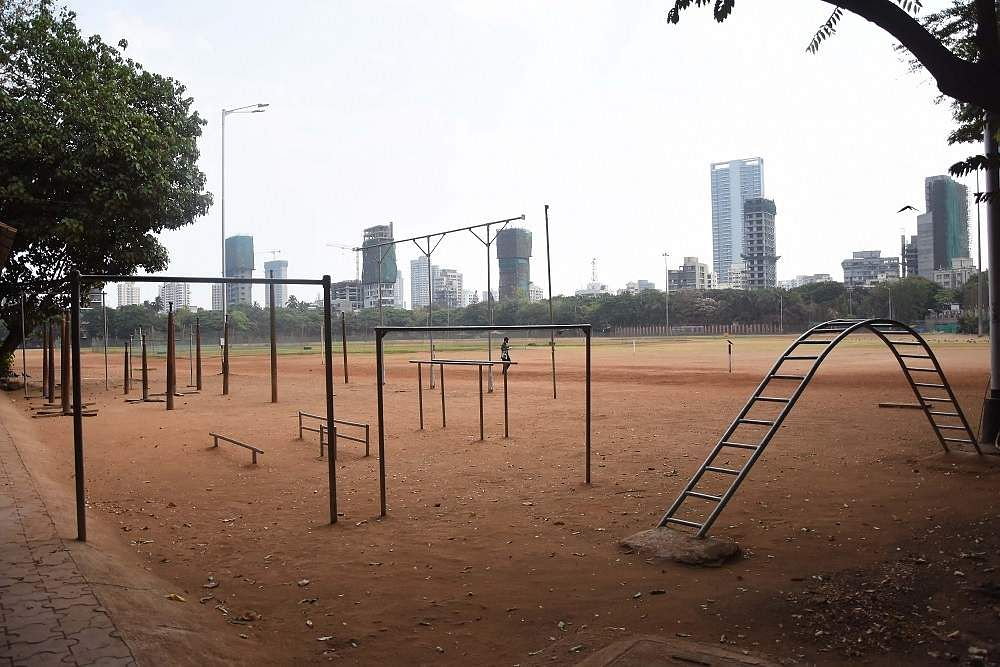 Mumbai: A public playground bears a deserted look during the complete nationwide lockdown  to contain the deadly coronavirus pandemic. (Photo: IANS)