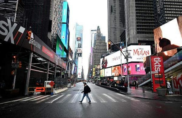 A deserted Times Square in New York