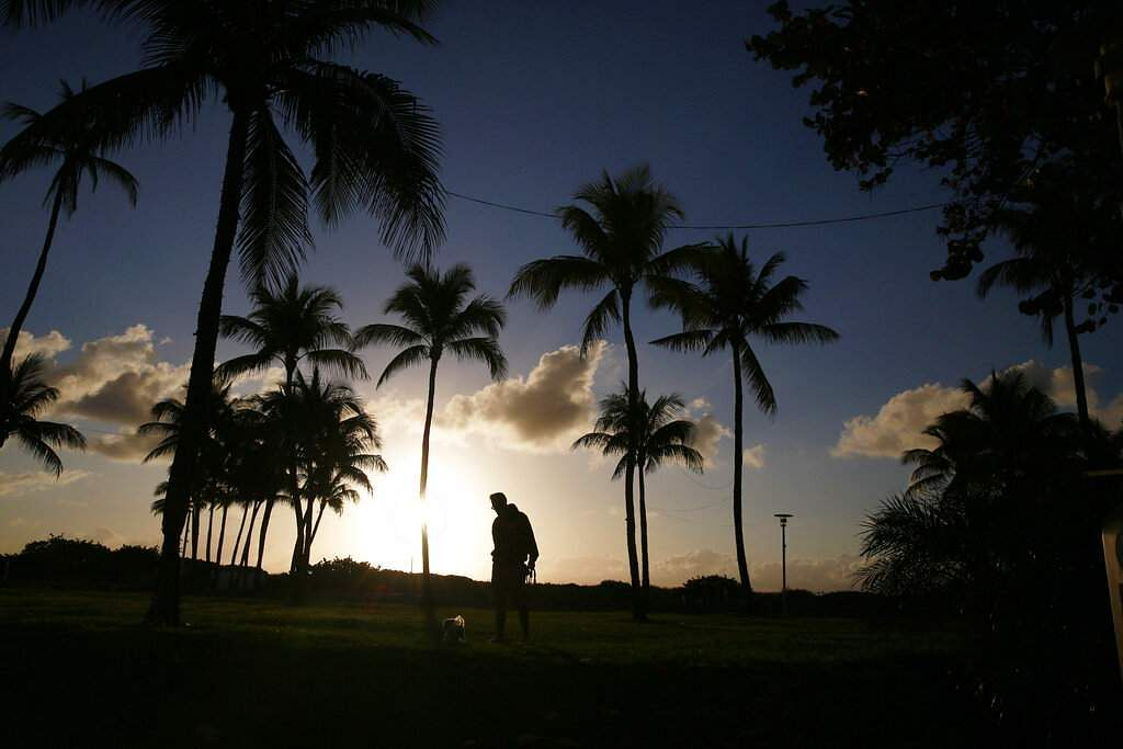 Miami Beach, Florida: A man walks his dog near an empty beach, amid the coronavirus outbreak in Miami. (AP Photo/Brynn Anderson)