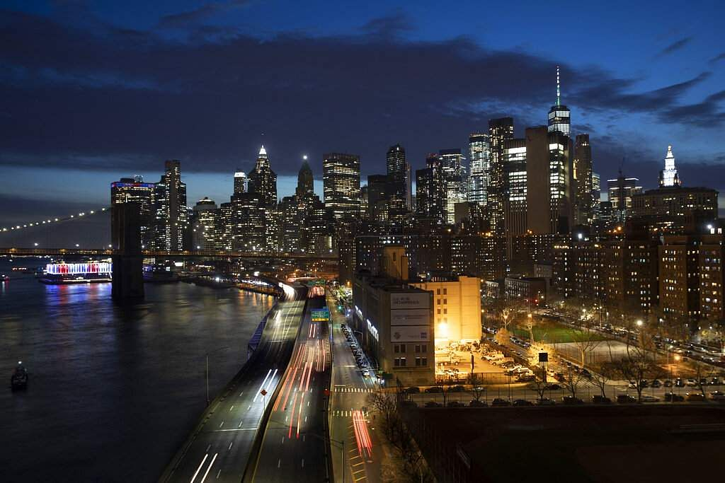 New York, USA: Traffic on FDR Drive next to the Manhattan skyline. Gov Andrew Cuomo's 'stay-at-home' orders has led to the streets and highways being quieter than usual. (AP Photo/Mark Lennihan)