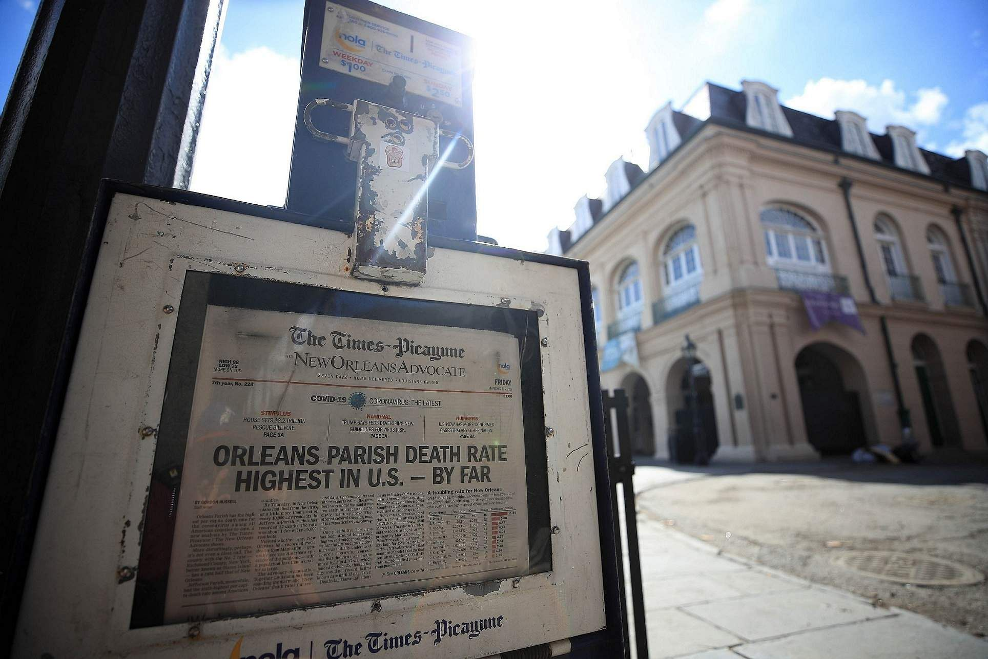 New Orleans, Louisiana, United States: A view of a newspaper machine is seen in the French Quarter amid the coronavirus pandemic. (Chris Graythen/Getty Images/AFP)