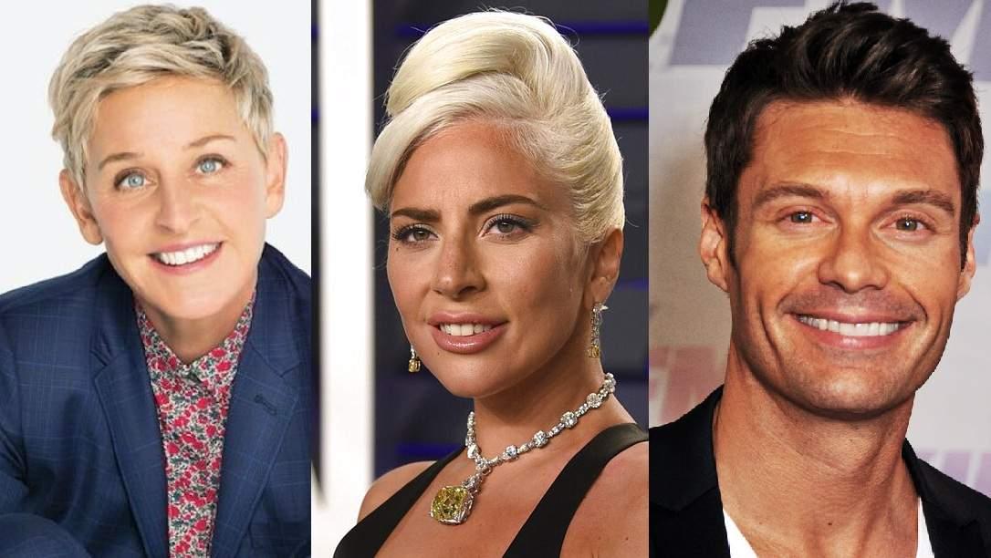 Ellen DeGeneres, Lady Gaga, Ryan Seacrest