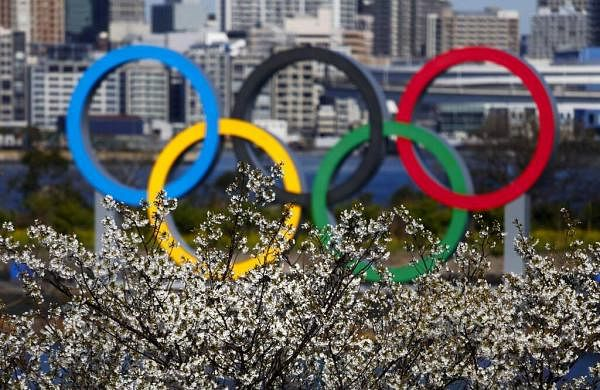 Olympic rings in Tokyo (AP Photo/Jae C Hong)