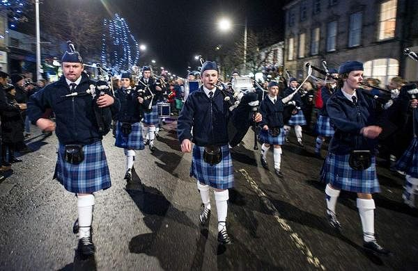 Pipers at a St Andrews Day parade