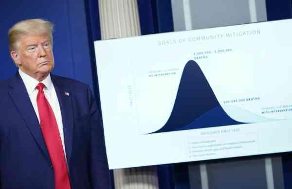 US President Donald Trump during a daily briefing on the novel coronavirus in Washington, DC (AFP/MANDEL NGAN)