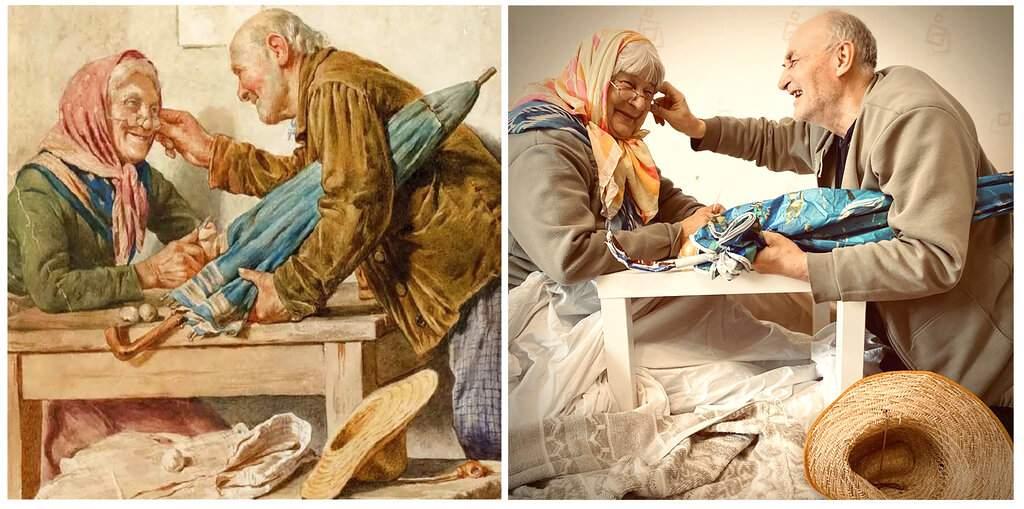 Pompeo Massani 'Good News' and Yulia Savinikh's recreation for the Izoizolyacia FB page. In lockdown, Russian artists are recreating famous artworks for social media. (Yulia Savinikh via AP)