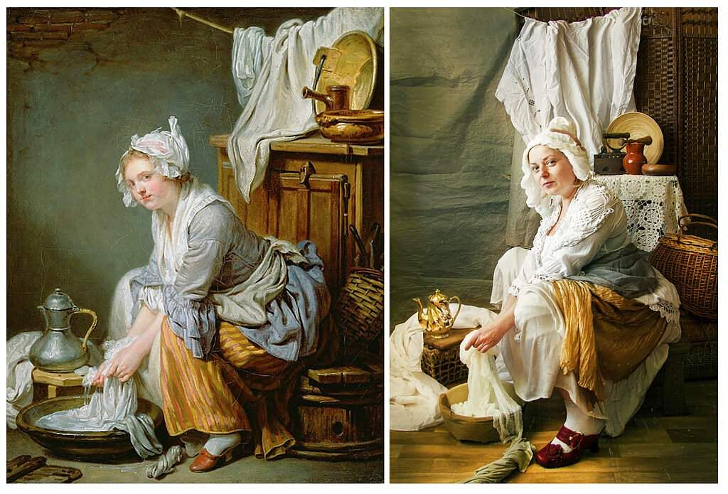 Jean-Baptiste Greuze's 'Washerwoman' and Natalya Altypina's recreation for Izoizolyacia FB page. In lockdown, Russian artists are recreating famous artworks for social media. (Natalya Altypina via AP)