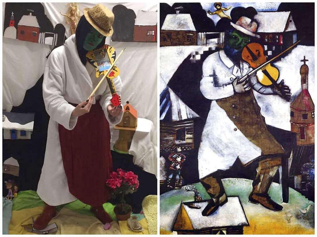 Marc Chagall's 'Green Fiddle Player' and Galina Vishnevskaya's recreation for Izoizolyacia FB page. In lockdown, artists are recreating famous works for social media. (Galina Vishnevskaya via AP)