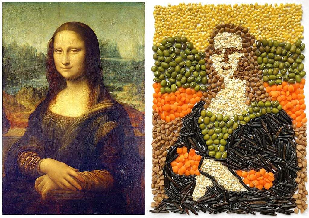 'Mona Lisa' by Leonardo da Vinci and Julia Tabolkina's recreation for the Izoizolyacia FB page. In lockdown, Russian artists are recreating famous artworks for social media. (Julia Tabolkina via AP)