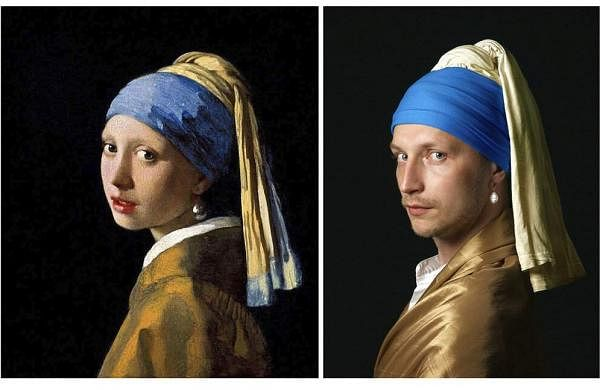 Vermeer's 'Girl with a Pearl Earring' and Vitaly Fonarev's recreation for the Izoizolyacia Facebook page. In lockdown, artists are recreating famous artworks for social media. (Vitaly Fonarev via AP)