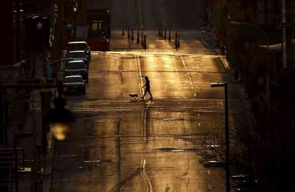 An empty downtown street in Kansas City (AP Photo/Charlie Riedel)