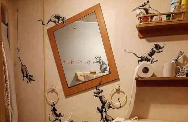 Banksy's latest work (details; source Instagram)
