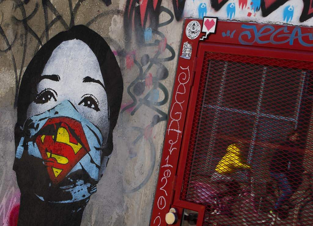 A mural by artist FAKE, titled 'Super Nurse' pays tribute to healthcare and medical professionals in times of the coronavirus, in Amsterdam, Netherlands. (AP Photo/Peter Dejong)