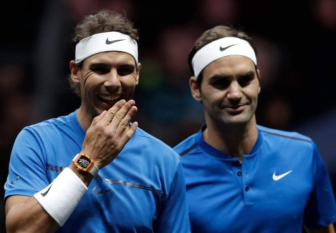 Rafael Nadal and Roger Federer during the inaugural Laver Cup