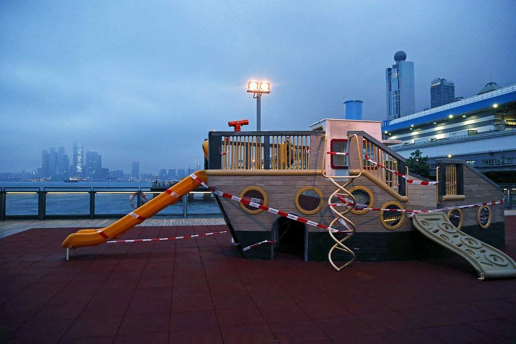 Children's playground toys are closed off as a deterrent to help curb the spread of the coronavirus in Hong Kong. (AP Photo/Kin Cheung)
