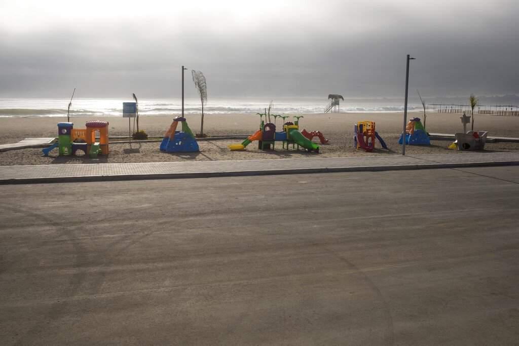 A children's playground is seen in Ahia Dulce beach, during a lockdown due to the coronavirus in Lima, Peru. (AP Photo/Rodrigo Abd)