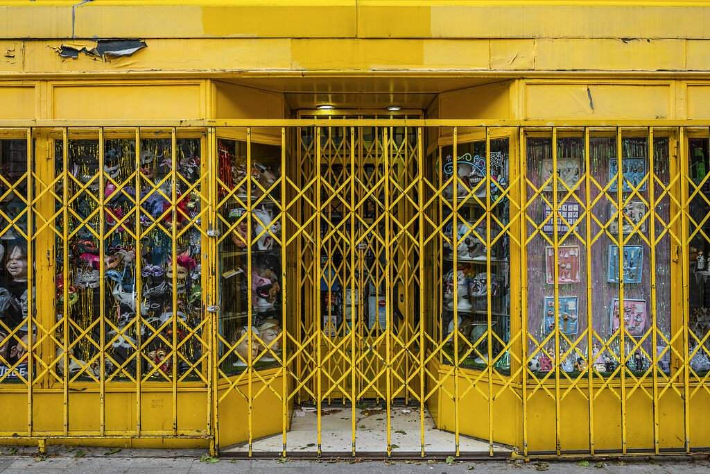 The facade of a costume shop closed during the coronavirus outbreak in Madrid, Spain. (AP Photo/Bernat Armangue)