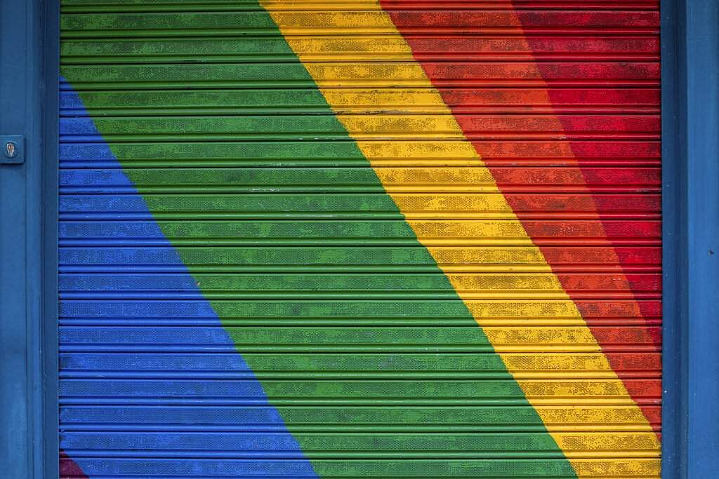 The roller shutter of a shop closed during the coronavirus outbreak in Madrid, Spain. (AP Photo/Bernat Armangue)