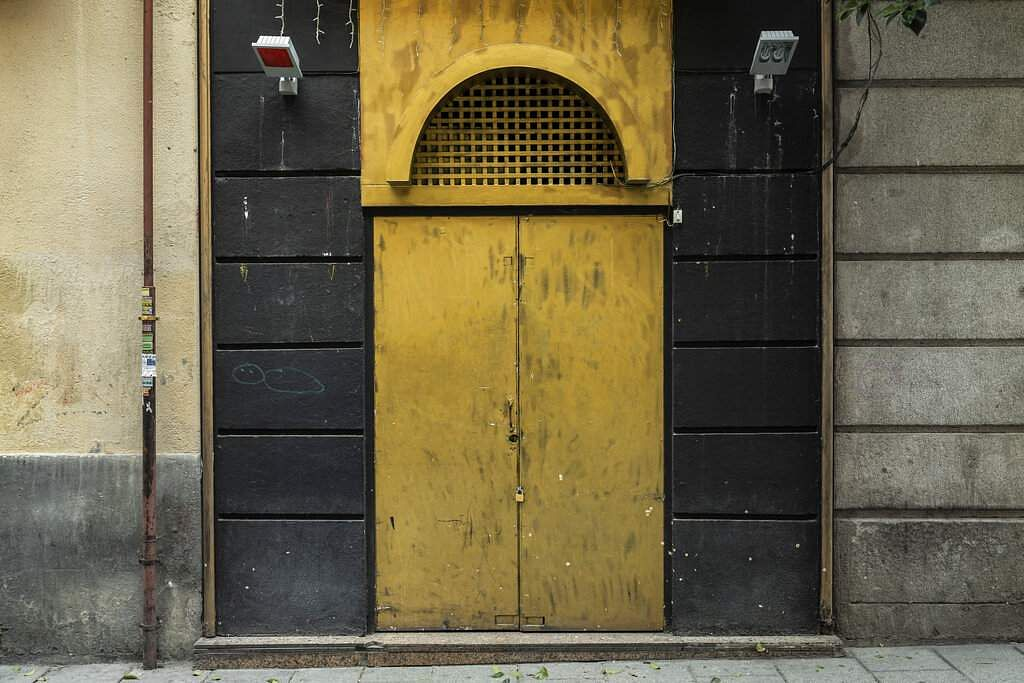 The entrance of a sauna closed during the coronavirus outbreak in Madrid, Spain. (AP Photo/Bernat Armangue)