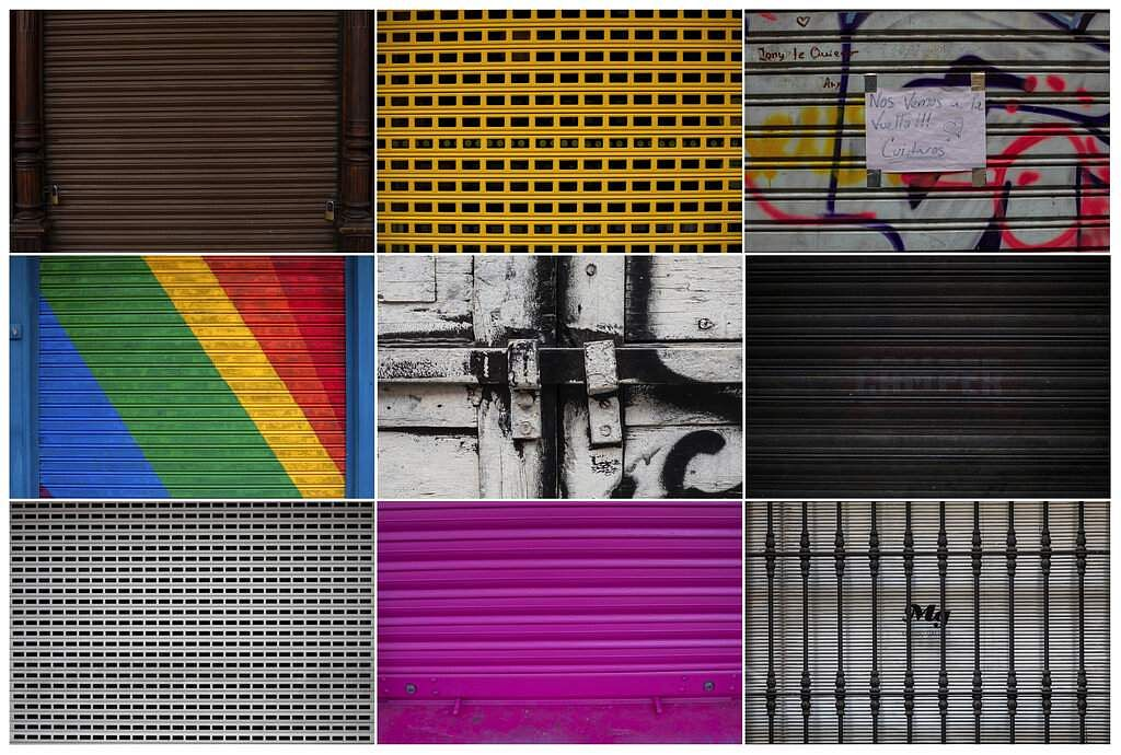 A combo of photos shows details of businesses closed during the coronavirus outbreak in Madrid, Spain. (AP Photo/Bernat Armangue)