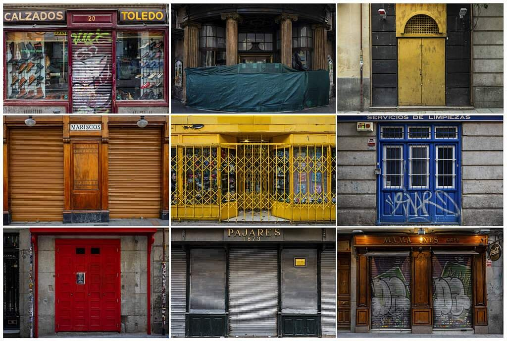 A combo of photos show details of businesses closed during the coronavirus outbreak in Madrid, Spain. (AP Photo/Bernat Armangue)