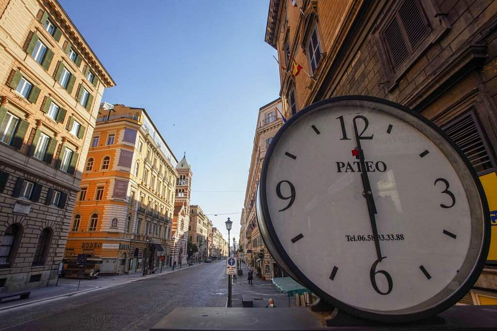 Via Nazionale, one of the busiest roads of Rome's city centre, stands empty at 1800 on Friday, April 24, 2020. (AP Photo/Andrew Medichini)