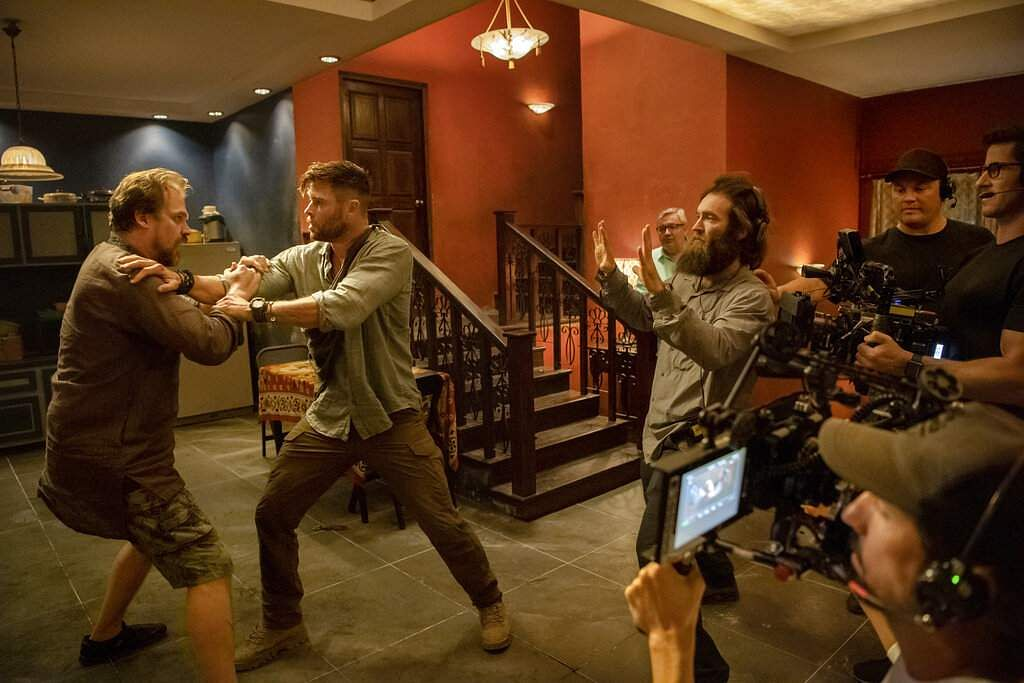 Sam Hargrave directs David Harbour and Chris Hemsworth in Extraction (Jasin Boland/Netflix via AP)