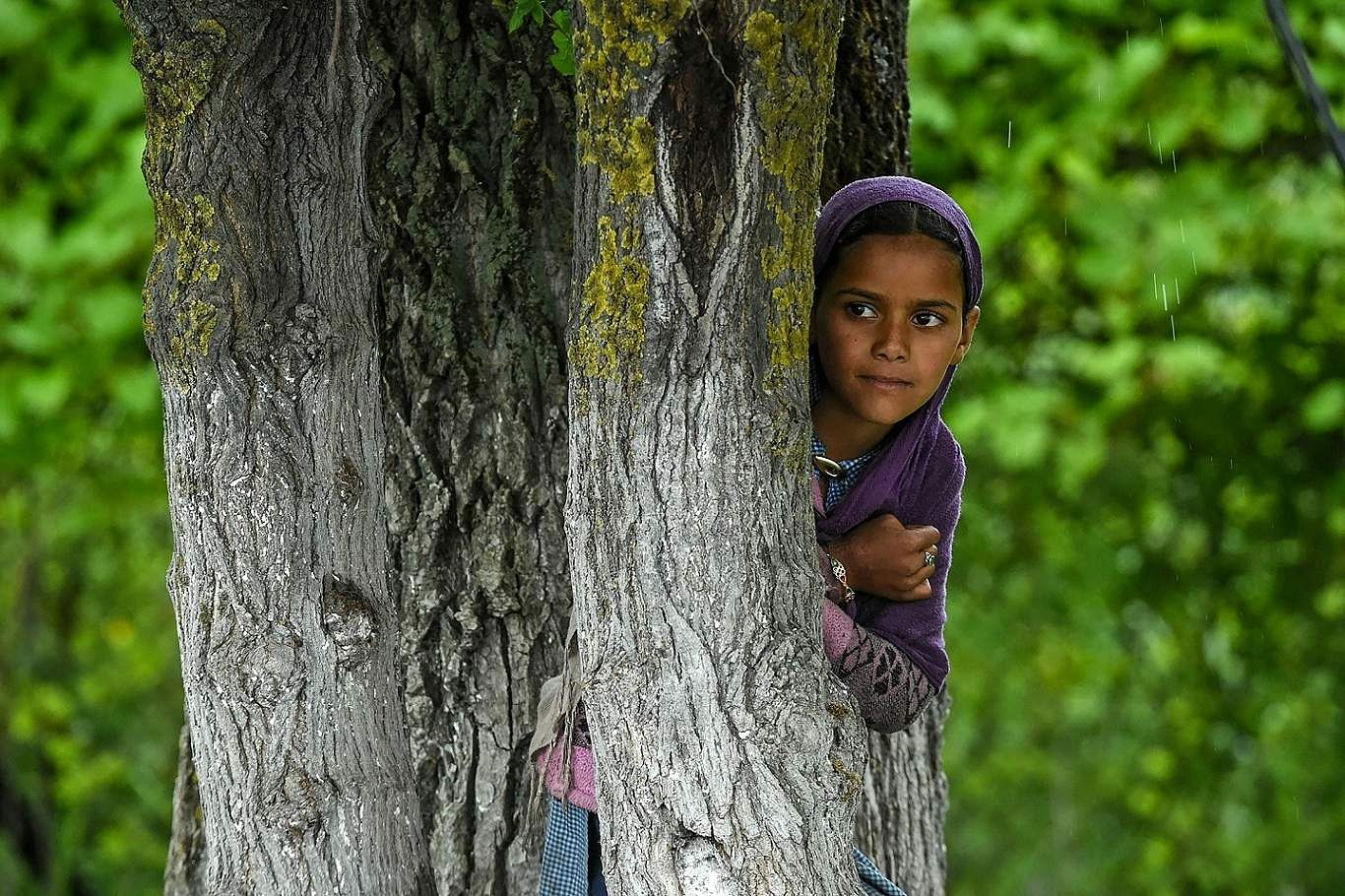 Srinagar, Jammu and Kashmir: A nomad girl looks over from the banks of the Dal Lake during rainfall in Srinagar. (AFP/Tauseef Mustafa)