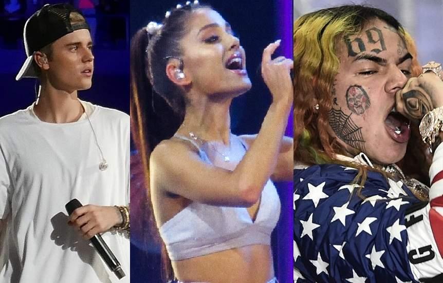 Justin Bieber, Ariana Grande & Tekashi 6ix9ine (Photo: IANS)