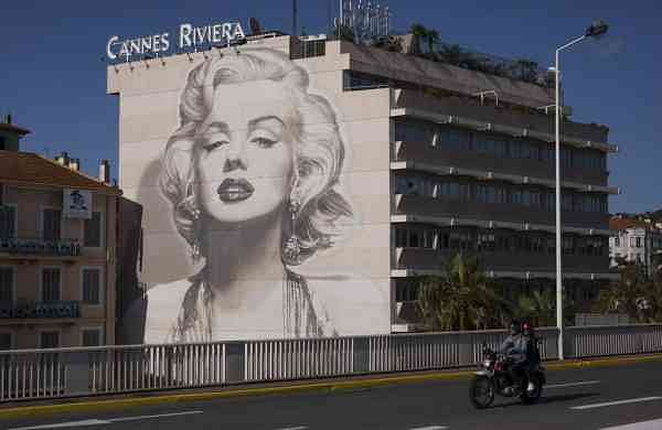 A mural of Marilyn Monroe in Cannes (AP Photo/Daniel Cole)