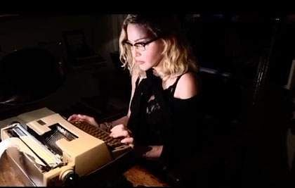 Madonna at her typewriter (Image: IANS)