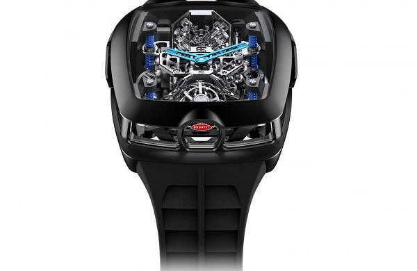 Jacob & Co's Twin Turbo Furious Bugatti is made from Grade 5 Titanium-forged carbon. 48-hr power reserve, mono push chrono, Minute Repeater, Double Hi-speed Tourbillon. INR 2.13 crore. Ltd 250 pieces.