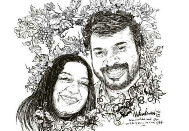 Mohanlal posts sketch of Mammootty and wife on their wedding anniversary