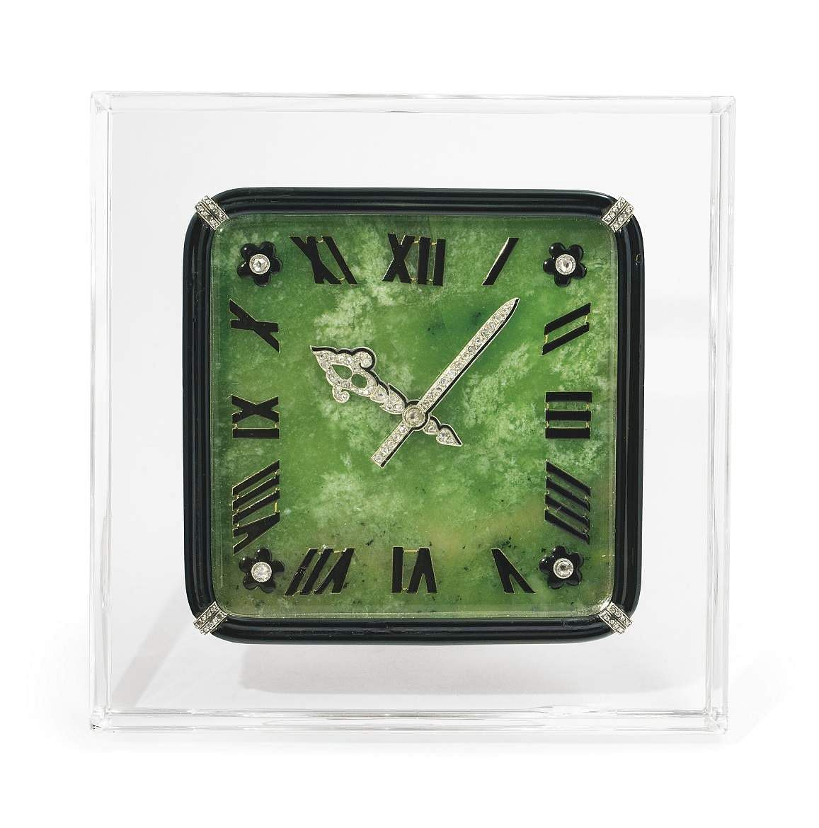 Christie's presents 101 Cartier Clocks on auction on 1 July, at Four Seasons Hotel des Bergues, Geneva. In pic: Art deco nephrite jade, rock crystal, enamel & diamond desk clock. Est: US $83-120,000.