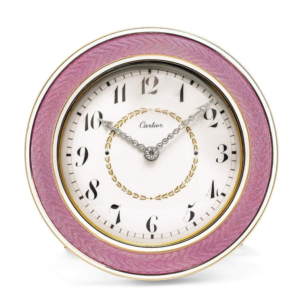 Christie's presents 101 Cartier Clocks on auction on 1 July, at Four Seasons Hotel des Bergues, Geneva. In pic: Belle Epoque enamel & diamond clock. Est: US $37-57,000.