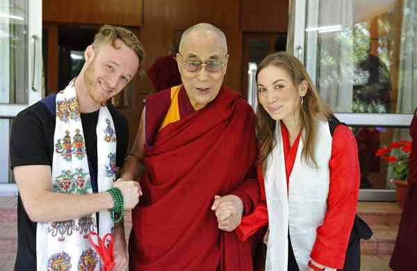 The Dalai Lama with Abe and Junelle Kunin (Ven Tenzin Jamphel/Office of His Holiness the Dalai Lama via AP)