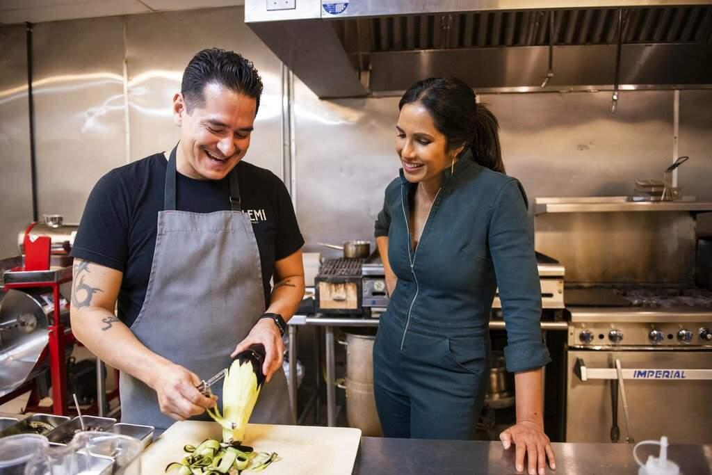 Emiliano Marentes and Padma Lakshmi (Dominic Valente/Hulu via AP)