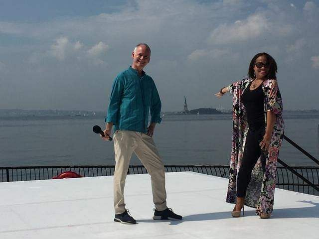 Jonathan Hollander, left, at the opening of the Black Voices in Dance program that launched the Festival, with Danni Gee, right, Dance Curator, City Parks Foundation
