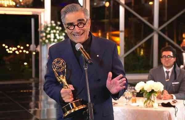 Eugene Levy accepts the outstanding lead actor in a comedy series award for Schitt's Creek