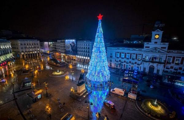 A view of the empty Madrid's Puerta del Sol before the New Year's celebrations in Madrid, Spain AP20366843883940
