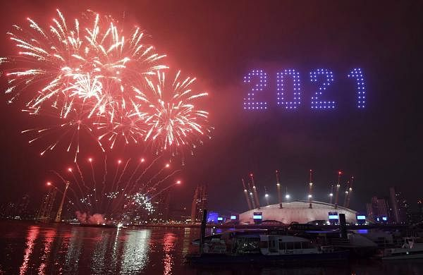 Fireworks and drones illuminate the night sky over London AP21001014497184