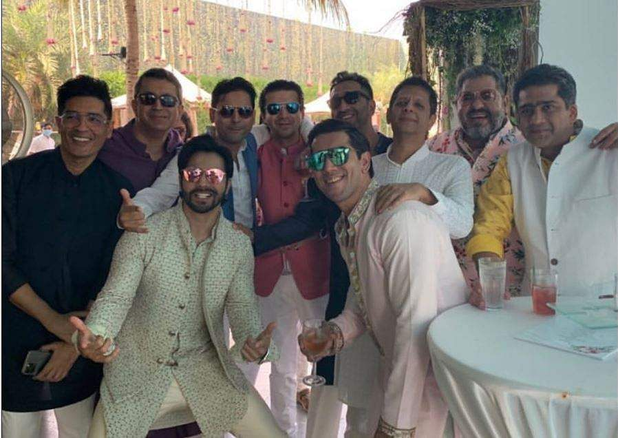 Varun Dhawan with his squad at The Mansion House